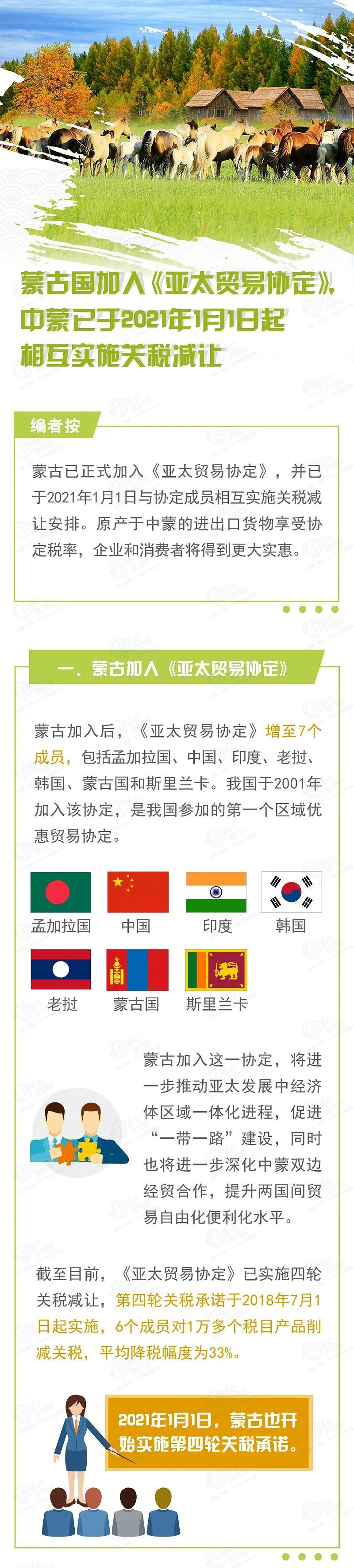 中国蒙古国实施《亚太贸易协定》